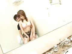 Asian cutie is exciting boyfriend with smooth blowjob