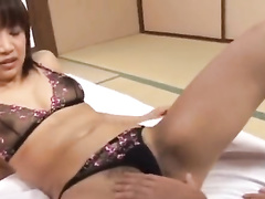 Horny oriental girl pleasures cunnilingus and toes suck