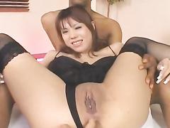 Japanese chick enjoys fondling and masturbation