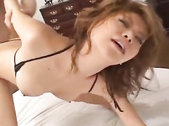 Brown haired beauty Japanese chick enjoys ass lick and pussy fingering