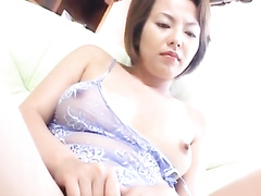 Tight oriental chick hotly masturbates with vibrator toy