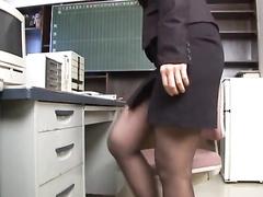 Hot Japanese office chick pleasantly masturbates at work