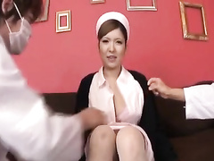 Asian nurse enjoys threesome fuck with two doctors