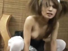 Cutie oriental girl got seduced to undress and masturbate her puss