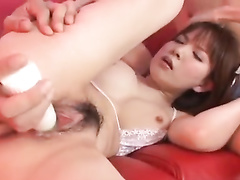 Sexy tight young Japanese chick is pleasuring hot masturbation