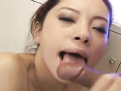 Asian fuckers are making slender chick to blowjob their dicks