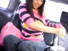 Asian teen gets undressed in the car and drilled with vibrator