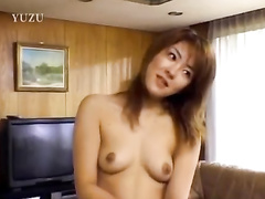 Japanese charming chick gets undressed and hotly fucked by two guys