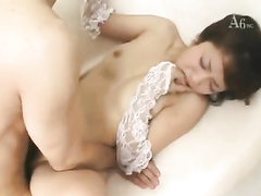 Beautiful Japanese chick enjoys passionate hardcore fuck
