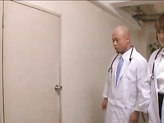 Naughty Asian doctor fucks his assistant nurse with patient