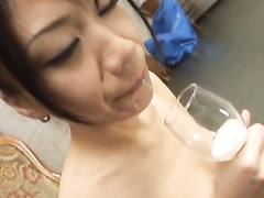 Dirty Japanese bitch sucks out cumload and spits it out in glass