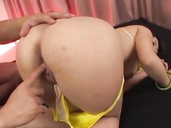 Fatty Japanese dude enjoys fucking cutie Asian chick