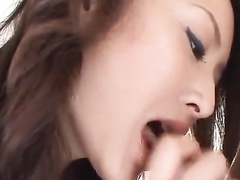 Exciting sexy redhead Japanese chick excites her fucker with blowjob