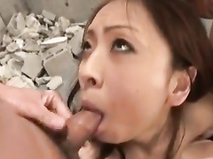 Red haired Japanese chick is erecting two cocks with blowjob