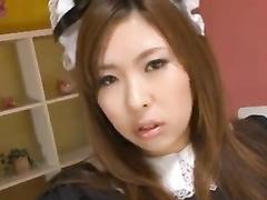 Wonderful Japanese housemaid enjoys pussy masturbation