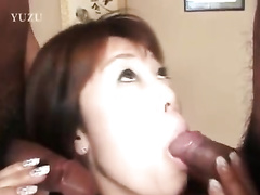 Precious Japanese babe is getting excited and fucking with two dudes