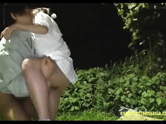 Tight and juicy shaped Asian chick gets fucked outdoors wearing tennis uniform