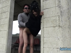 Skinny young Asian chick Tomita enjoys hardcore fuck in abandoned building