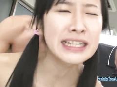 Petite Asian cutie girl Suzu Ichinose got fucked unsparingly hard by group of guys