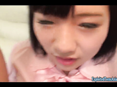 Beautiful Japanese teen Rin is sitting on couch and doing tight blowjob